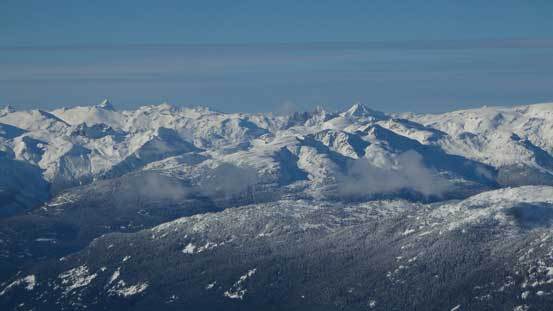Lots of rugged peaks in this picture including Ashlu Mountain (left skyline) and Mt. Cayley