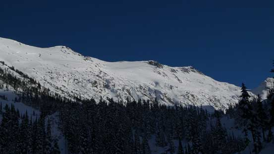 Down to Blackcomb Creek now, looking back at our objective