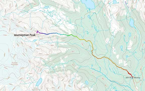 Journeyman Peak ascent route via E. Ridge