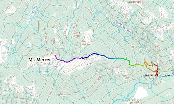 Mt. Mercer ascent route via East Ridge