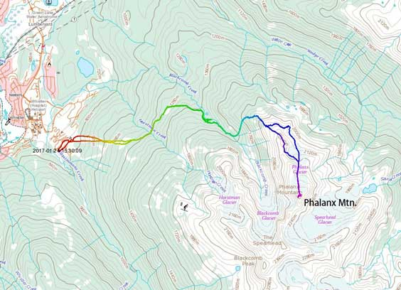 Phalanx Mountain ascent route via NW Flanks