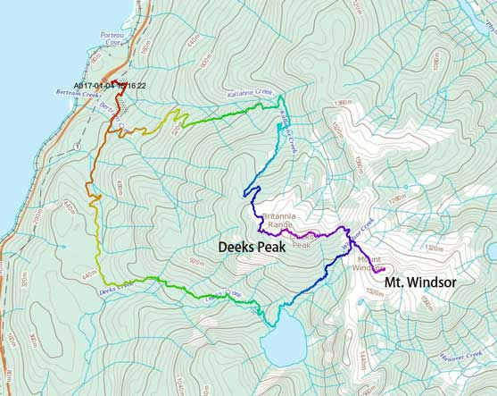 Mt. Windsor and Deeks Peak loop traverse route