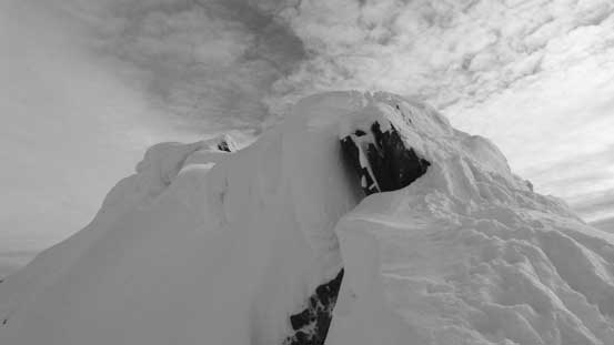 The cornices are enormous on the summit ridge