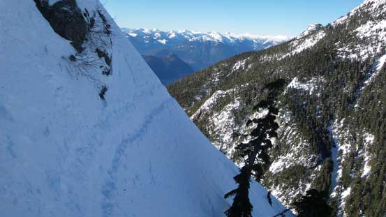 This is that infamous traverse, which is actually less steep than the previous pitch.