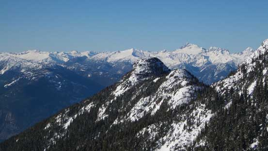 Tantalus Range pokes behind Hat Mountain