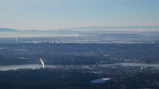 A zoomed-in shot of the Greater Vancouver