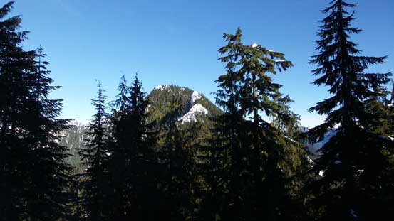 A glimpse of The Needles through trees