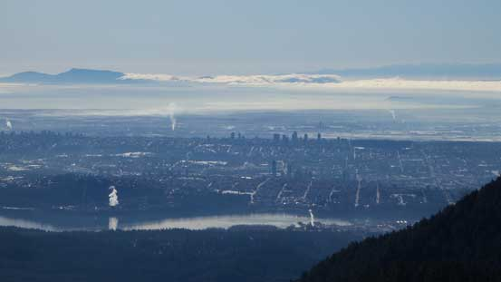 A zoomed-in view looking back towards the Greater Vancouver