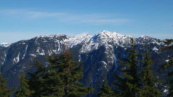 The multiple summits on Mt. Bishop massif
