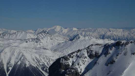 Whitecap Mountain dominates the skyline looking that way.