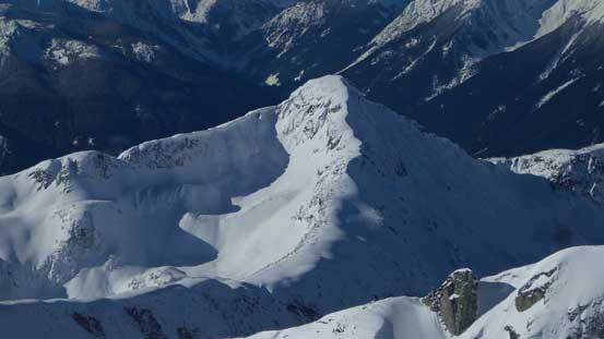 A zoomed-in shot of Duffey Peak