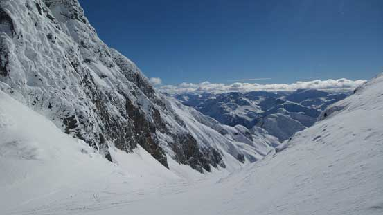 Looking down the south side of M/H col. Lots of skiing activities down Hartzell Glacier
