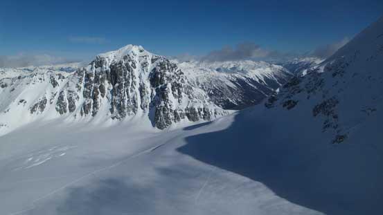 A wider shot of Joffre Peak rises behind Matier Glacier