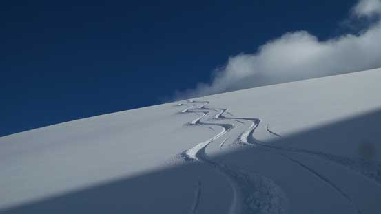 Crossing a pair of ski tracks