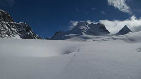 Picture showing there're quite a few large dents on the glacier.
