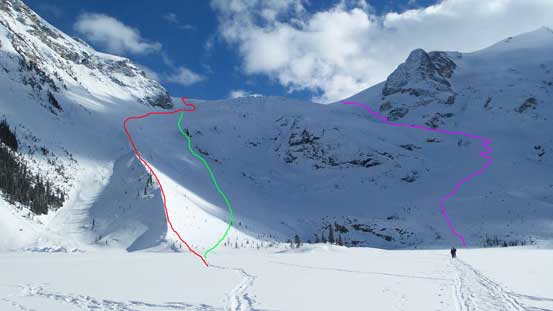 Matier Icefall approach: Red is the skier's track; Green is my route; Purple is climber's right access