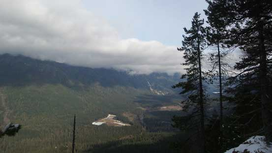 Looking up the Seymour River valley. The Needles should be on left but in clouds