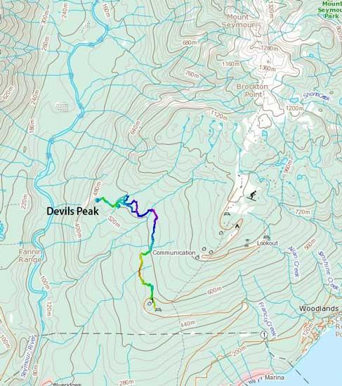 Devil's Peak hiking route