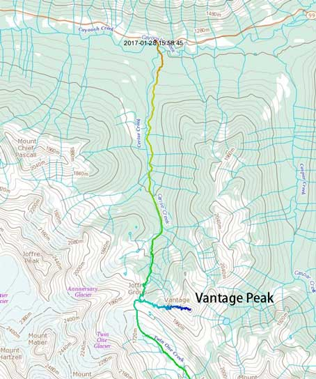 Vantage Peak ascent route.
